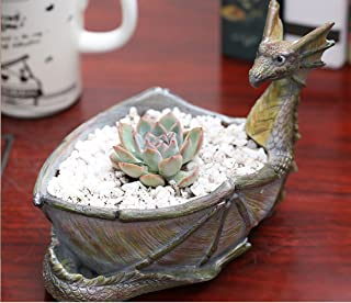 Creative Dragon Shaped Flower Pots Resin with Hole Small Potted Succulent Planters Vase Bowl Rustic Fairy Garden Design Home Tabletop Storage Decor Unique Crafts Garden Ornament(Dragon)