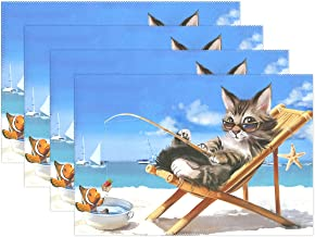 WOZO Ocean Beach Cute Cat Kitten Fisherman Placemat Table Mat 12 x 18 Polyester Table Place Mat for Kitchen Dining Room Set of 4