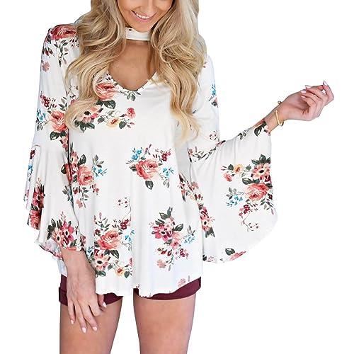 5352703a6fca7b Ebetterr Women's Casual Floral Print Choker Long Bell Sleeve Tops Blouse  Shirt