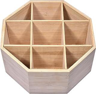 Ocobetom Boîte De Rangement en Bambou À 9 Grilles, Boîte De Rangement Rotative 360 pour Sachets De Thé, Boîte De Rangeme...