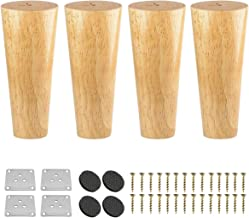 10 inch Solid Wood Furniture Legs, Btowin 4Pcs Mid-Century Modern Round Wooden Replacement Feet with & Mounting Plate & Sc...