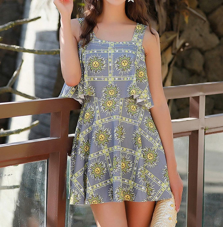 Swimsuit Beach Skirt  Summer Ladies' Fresh, Conservative Skirt Boxer Swimsuit Spa Swimsuit HOMEE