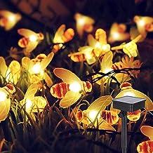ALED LIGHT Solar Garden Decorations Outdoor Bee String Lights, 6.4m Waterproof 30 LED Solar Powered Outdoor Fairy Landscap...