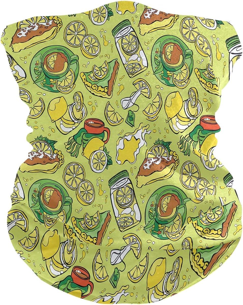 Bandana Face Scarf Lemon Pattern Neck Gaiter Headwear Headband for Cycling Fishing Hiking Camping