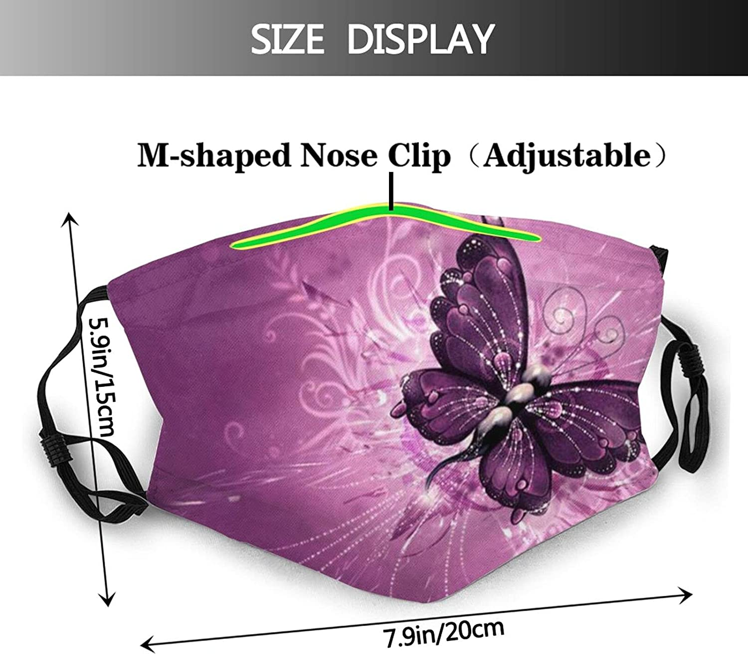 Butterfly Face Mask with 2 Pcs Filters,Colorful Mask Reusable Washable Balaclavas for Women Man Youth