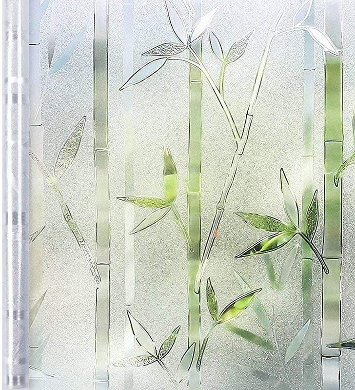 Homein Window Film Privacy 3D Crystal Clear Bamboo Decorative Stained Glass Window Film Removable Self Adhesive Glass Sticker Static Cling Vinyl Window Paper For Kitchen Office 35 4x78 7inches