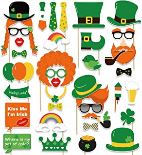 St. Patrick's Day Photo Booth Props - Shamrock Irish Party Supplies Decorations(59Ct)