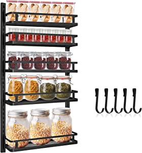 Wall Mount Spice Rack Organizer, Hasfu 5 Tier Height-adjustable Hanging Spice Shelf Storage Seasoning Holder for Kitchen and Pantry Storing Spices Cabinet with Hooks, Black