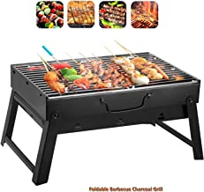 AOHEZI BBQ Charcoal Grill, Folding Portable Lightweight Barbecue Grill Tools for Outdoor Grilling Cooking Camping Hiking Picnics Tailgating Backpacking Party(Black) (S)