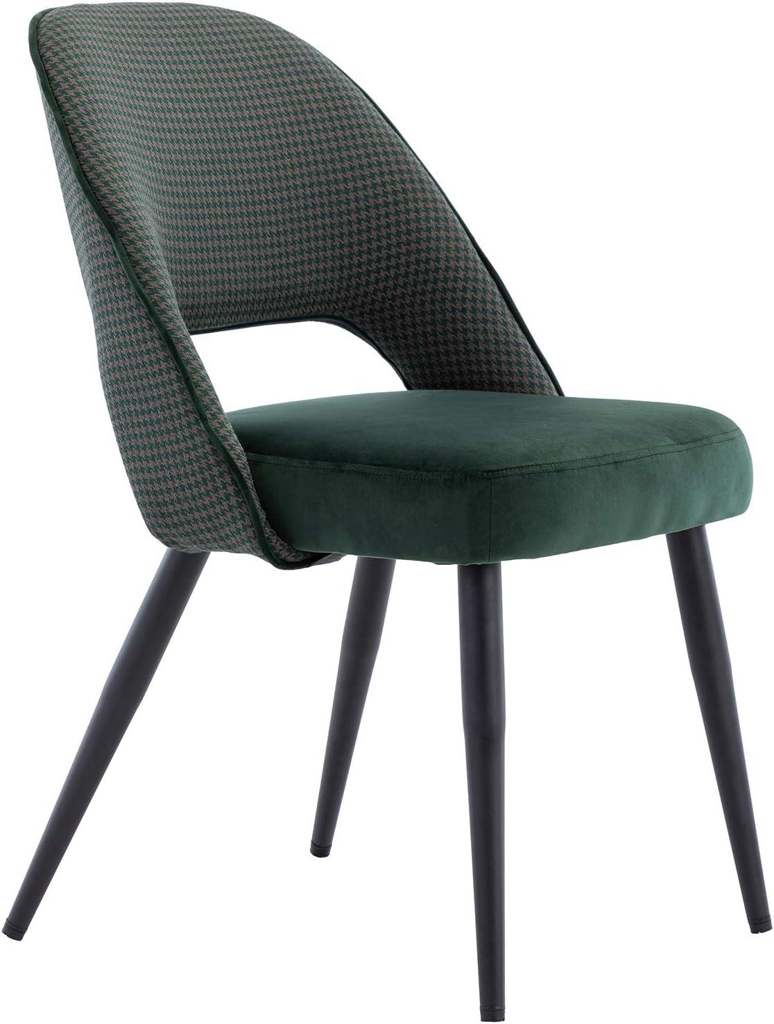 Wahson Lot de 2 Chaises de Salle à Manger Rembourrées en Velours et Tissu Chaise de Loisirs avec Pieds en Métal pour Cuisine/Salon (Vert) Vert