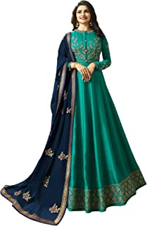 SHAFNUFAB Women's Silk Semi Stitched Anarkali Salwar Suit (Anarkali-Gown-Salwar-Suit-SF10342 Turquoise Free Size)