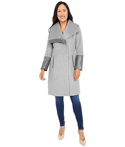 Via Spiga Wing Collar Asymmetrical Wool Coat (Light Grey) Women