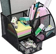 Snow Cooler Mesh Pen Organizer Pencil Organizer Desk Office Organizer, Pen Holder for Desk 7 Compartments, Black