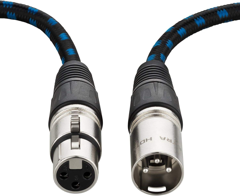 Zinklegierung und Knickschutz Nylon-Mantel Zugentlastung 1 Meter HiFi Audio Kabel mit XLR Stecker auf XLR Buchse Ultra HDTV Premium XLR Lautsprecherkabel Metall-Stecker mit Einrast-Mechanik