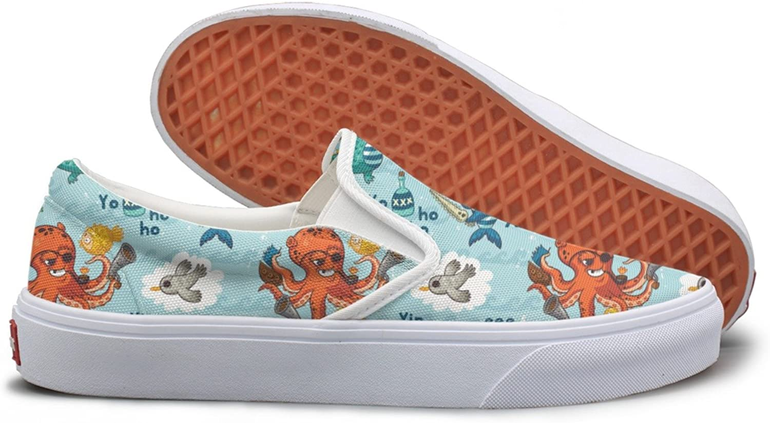 SEERTED Pirate Animals Figure bluee Canvas shoes Women Casual
