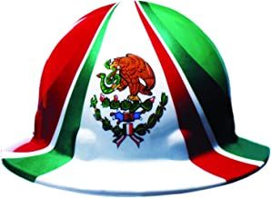 Fibre-Metal by Honeywell SuperEight Thermoplastic Full Brim Hard Hat with 8-Point Ratchet Suspension, Mexican Flag Full Graphic