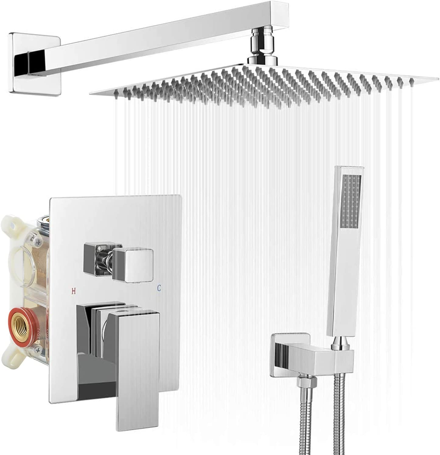 BWE 20 Inch Square Bathroom Luxury Rain Mixer Shower Combo Set Wall Mounted  Shower Kit Rainfall Shower Head System Polished Chrome Shower Faucet ...