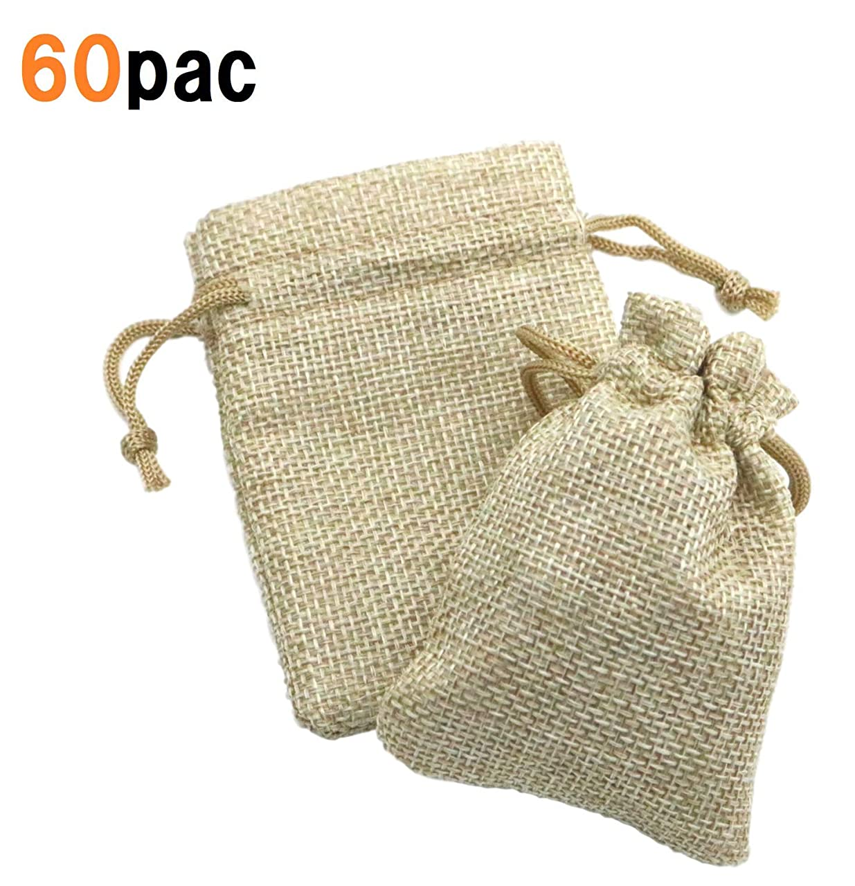 DuringVillage Burlap Bags with Drawstring Gift Bag Linen Burlap Jewelry Pouches Sacks for Wedding Party Favors DIY Craft 4x6 (60)