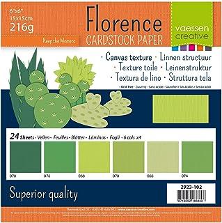 Vaessen creative 2923-102 Papier Scrapbook Florence 216g 6x6 inches - Multipack de 24 Feuilles Vert Multicolore, 15 x 15 ...