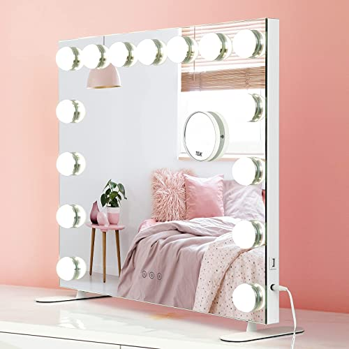 2021 Large online sale Vanity Mirror with Lights 25.6 x 20.5 Inches Hollywood Lighted Makeup Mirror with 15 Dimmable discount LED Bulbs 3 Color Modes Touch Screen USB Port for Dressing Room Bedroom, Tabletop or Wall Mounted online