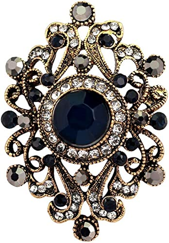 Fashion Vintage Jewelry Flower Gold Plated Rhinestone Brooch Pin Pink