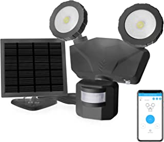 Novolink Solar Security Lights Outdoor, Wireless APP Control LED Security Lights, IP65 Waterproof Motion Sensor Light, 500LM Flood Light, 5500K 2-Head 180° Adjustable for Patio, Yard, Garage, Stairs