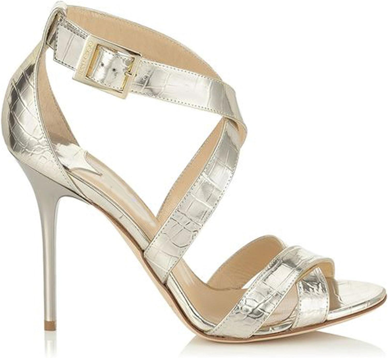 TDA Women's MA52530 Stiletto High Heel Corss Strap Sheepskin Dress shoes
