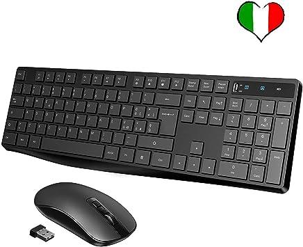 VicTsing Tastiera e Mouse Wireless PC, Kit Tastiera Mouse Wireless, Tastiera Wireless Tasti Cioccolati, Mouse Ultra Silenzioso, Ricevitore 2-in-1 per PC, Notebook, Laptop [Versione 2019]