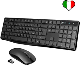 VicTsing Tastiera e Mouse Wireless PC, Kit Tastiera Mouse Wireless, Tastiera Wireless Tasti Cioccolati, Mouse Ultra Silenzioso, Ricevitore 2-in-1 per PC, Notebook, Laptop [Versione 2019]