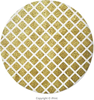 Memory Foam Round Area Rug Floor Kitchen Carpet, Gold and White,Rhombus Minimalist Modern Vintage Design Tile Like Squares Artwork Decorative,Yellow and White, Soft Flannel Non-Slip Absorbent Mat