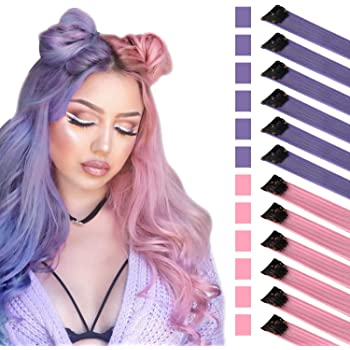 FESHFEN Colored Hair Extension, 12 PCS Purple Pink Hairpiece for Girls Princess Party Highlight Colorful Straight Hair Extensions Clip in Costumes Hair Piece for Girls Dolls, 20 inch
