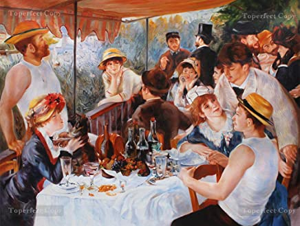 Handmade Reproduction by Professor at Art College - Luncheon of the Boating Party - Renoir Oil Painting on Canvas Impressionism -39 x 52.5 inches