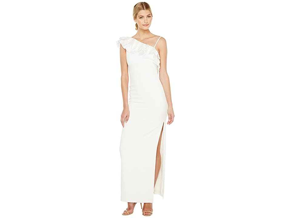 Badgley Mischka Asymmetrical Lace Trimmed Gown (Light Ivory) Women