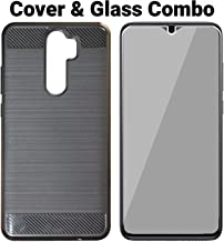 POPIO Tempered Glass & Back Cover Combo For Redmi Note 8 Pro (Transparent Glass & Black Back Cover) Full Screen Coverage Except Edges With Installation Kit