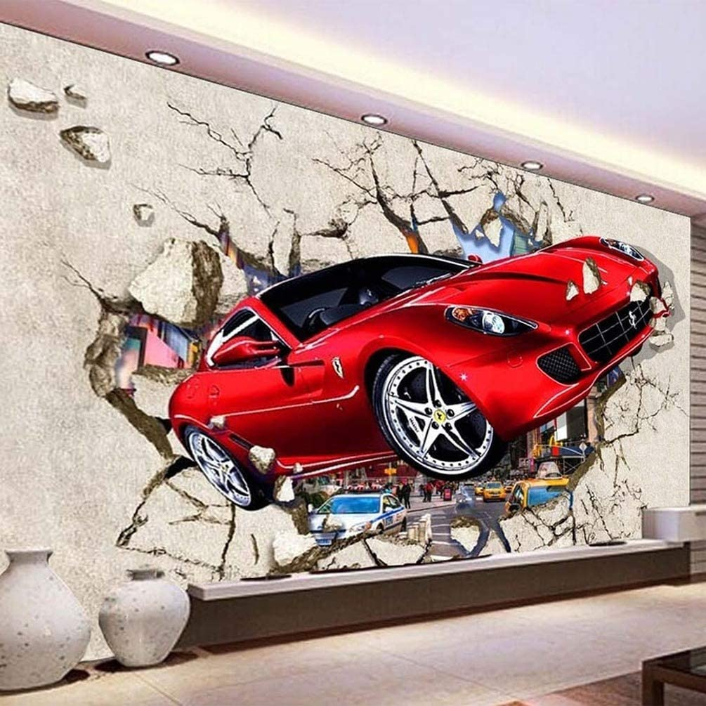 Wangc Custom Sports Car Wallpaper Mural 3d Red Car Broken Wall Photo Wallpaper Cartoon Kids Bedroom Living Room Wall Mural Home Decor 47x39inch Amazon Com