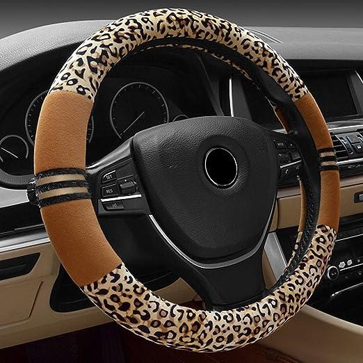 Universal Auto Plüsch Lenkradhülle Lenkrad Abdeckung Lenkradbezug Aus Kohlefaser Plüsch 38cm 15 Anti Rutsch Warm Lenkradabdeckung Lenkradschoner Leopard Muster Für Damen Mädchen Schwarz Beige Auto
