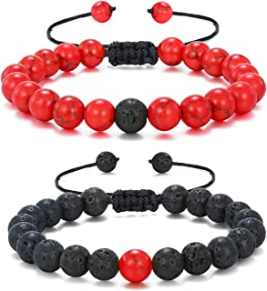 Mens Lava Stone Rock Bracelet for Women Aromatherapy Anxiety Essential Oil Diffuser Bead Couples Bangle