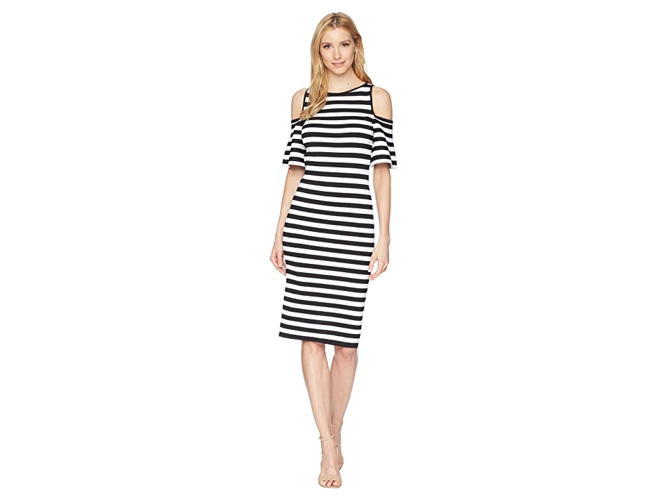 MICHAEL Michael Kors Stripe Off the Shoulder Dress (Black) Women