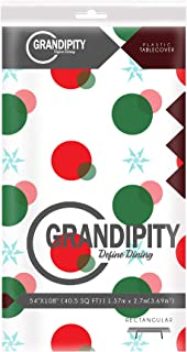 Red and Green Holiday Snow Flake Design 12 Pack Premium Disposable Plastic Tablecloth 54 Inch. x 108 Inch. Rectangle Table Cover By Grandipity