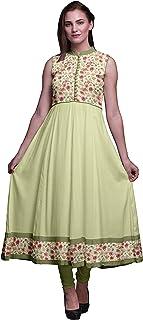 Bimba Damask Indian Long Kurti For Women Party Wear Printed Sleeveless Anarkali Kurti Dress