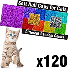 120 pcs Soft Cat Claw Caps for Cats Nail Claws 6X Different Random Colors + 6X Adhesive Glue + 6X Applicator, Pet Cap Tips Cover Paws Grooming Soft Covers (XS)