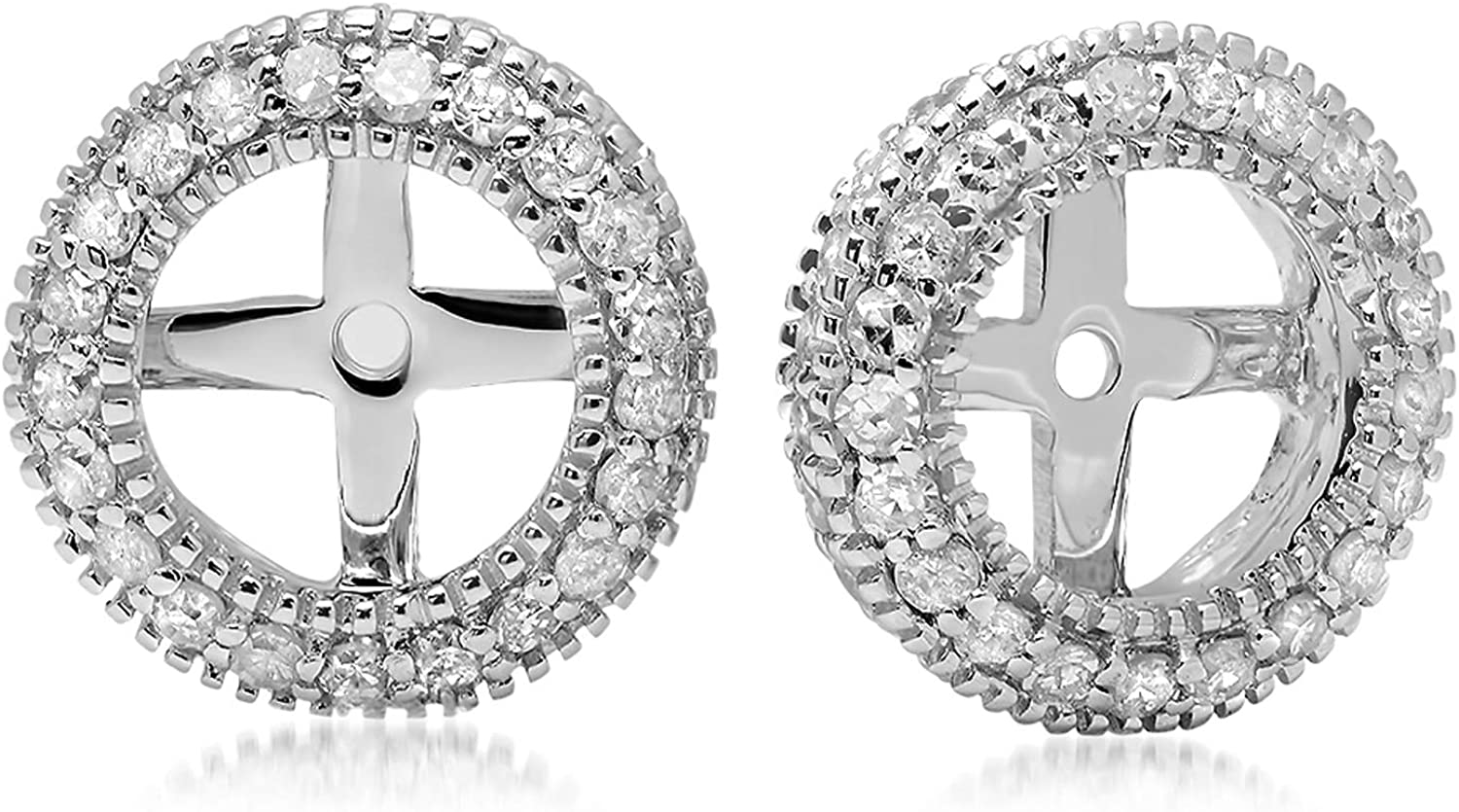 Dazzlingrock Collection 0.55 Carat (ctw) 18K Gold Round Diamond Removable Jackets For Stud Earrings 1/2 CT