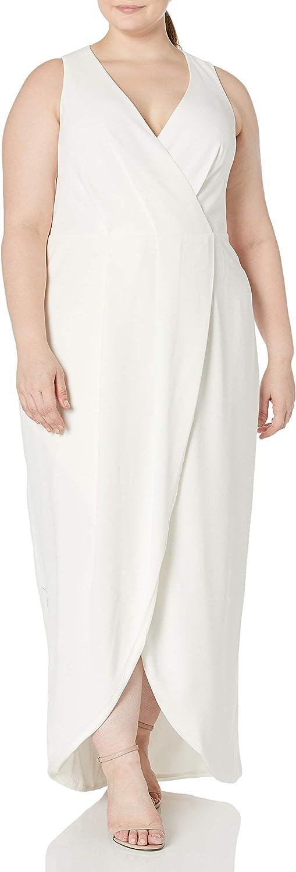 Dress the Population Women's Size Ariel Sleeveless Plunging Long Gown Wrap Dress Plus