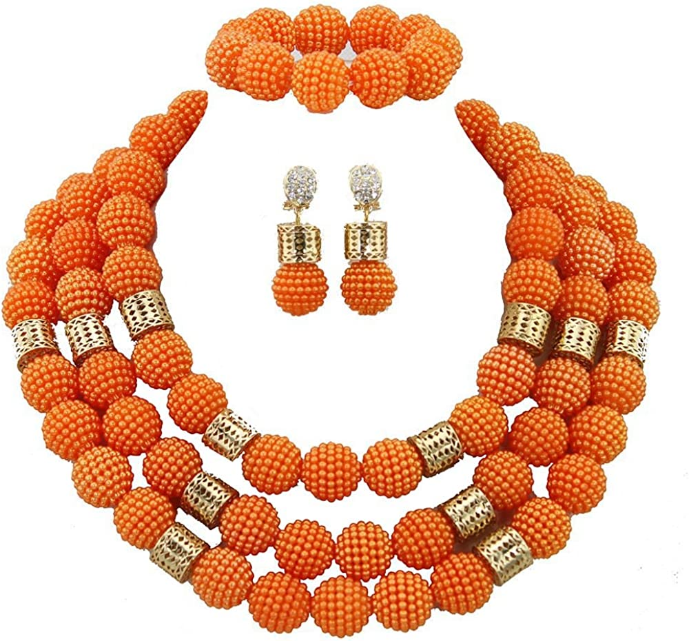 Africanbeads 3 Rows 20mm Nigerian Wedding Bridal Jewelry African Costume Beads Jewelry Set