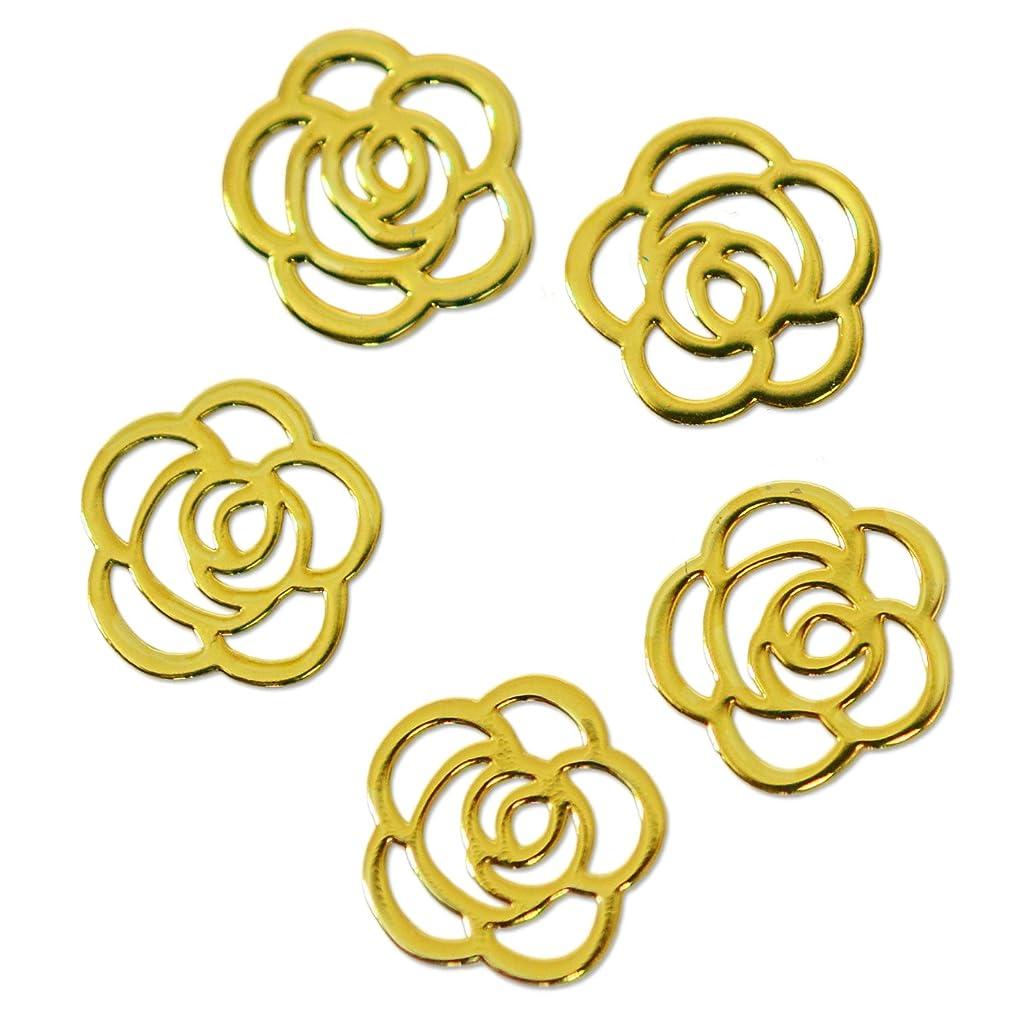 対明日先入観薄型メタルパーツ10013 ローズ(薔薇) 約5mm ゴールド 20個入り 片面仕上げ