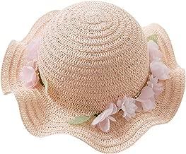DB10479 Dave Bella Summer Baby Girls Light Pink hat Children Fashion Flowers Straw hat,Light Pink,Two(50)