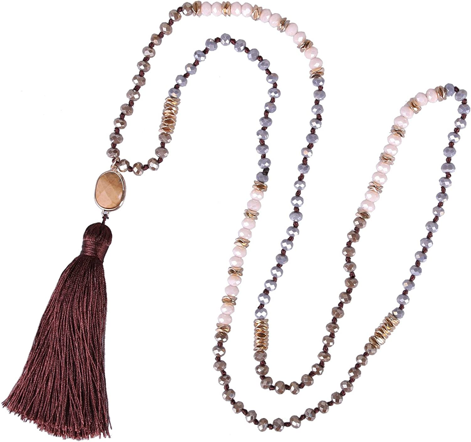 KELITCH Crystal Beaded Necklaces Handmade Tassel Pendant Necklaces for Women Sautoir Necklaces Summer Jewelry