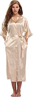 Kimono Art Women's Long Satin Kimono Robes for Bride and Bridesmaids