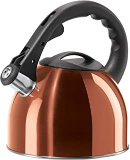 Oggi Stainless Steel Whistling Tea Kettle with Nylon Stay Cool Handle & Trigger Opening Spout, 2.5 L/85 oz, Copper