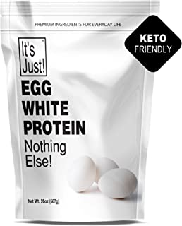 It's Just - Egg White Protein Powder, Dried Egg Whites Protein, Meringue Ingredient, Non-GMO, USA Farms, Unflavored (20oz)